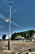 Flag at half mast in Haranoumachi's evacuation zone.