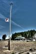 Flag at half mast in Haranoumachi's evacuation zone.