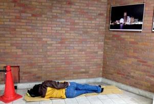 Sakuragicho: Sleeping on the sidewalk.